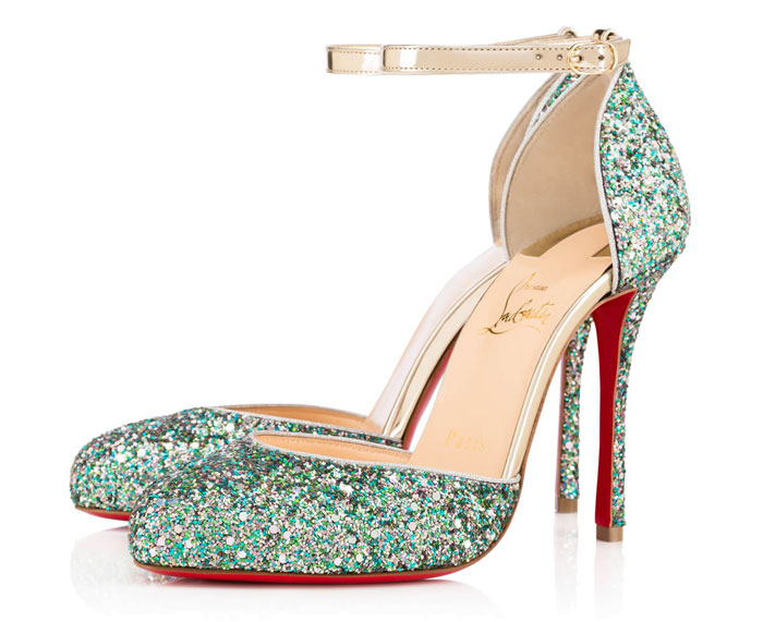 christian Louboutin green glitter ankle strap shoes