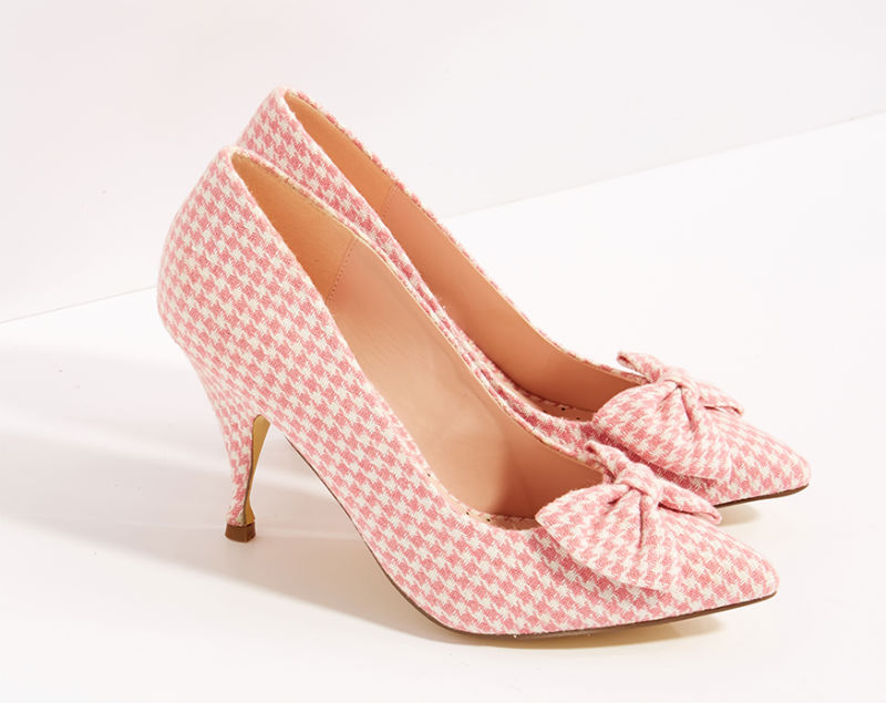 pink houndstooth bow court shoes