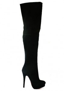 Cheap Discount Christian Louboutin Contente OTK Black Suede Over-The-Knee Boots
