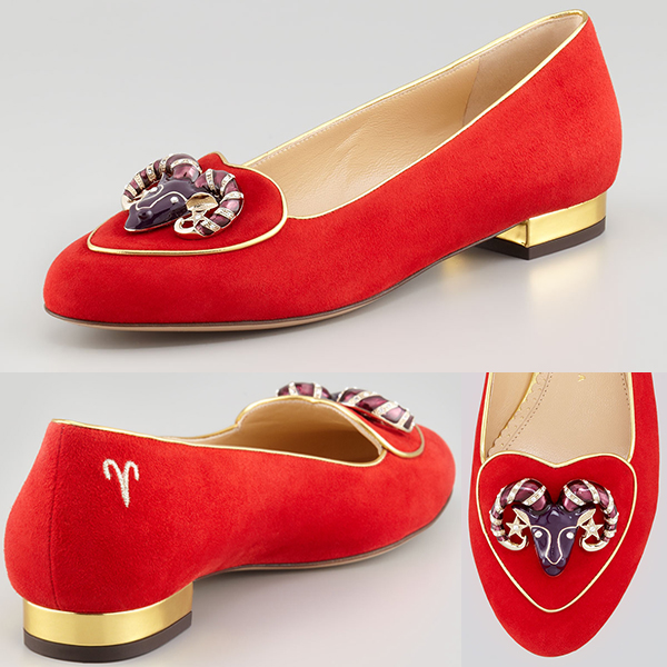 Cheap Replica Charlotte Olympia Birthday Aries Suede Flat Shoes